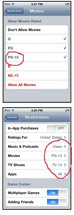 How to set limits on the iPod Touch