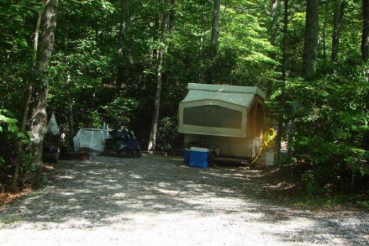 RV or drive-up tent camp site, with a pad for the tent