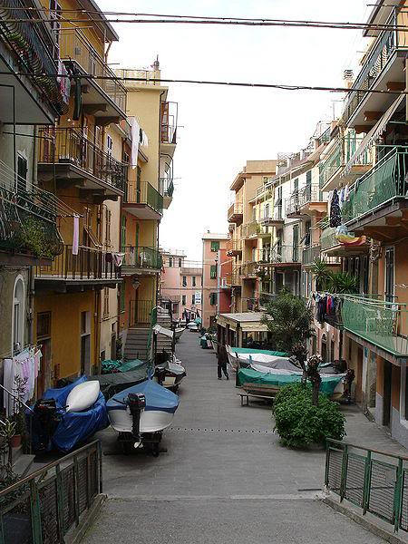 The main street in Manarola