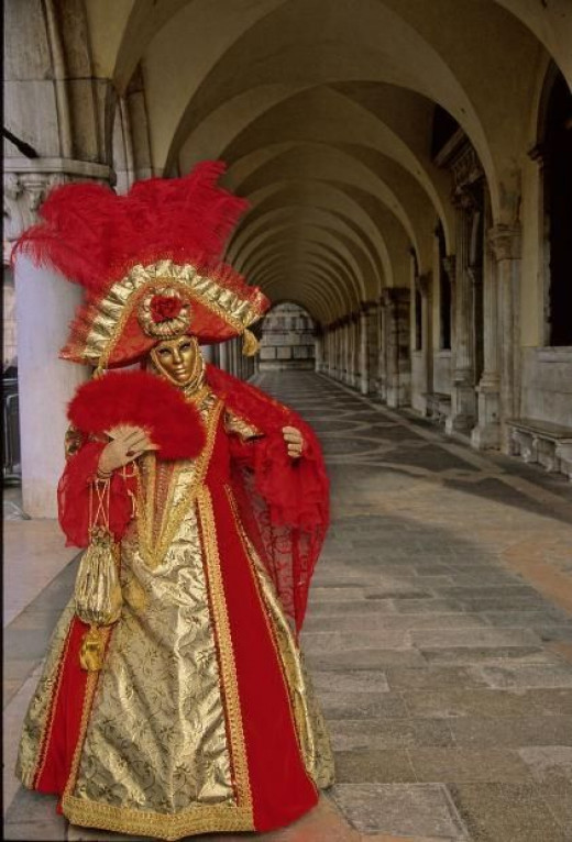 A red and gold carnival costume