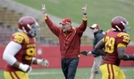 Paul Rhoads getting on players in practice.