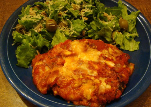 Oh, how much I love this eggplant parmesean!  I love my dish more than the eggplant parmesean I get at restaurants.