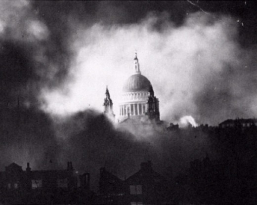 The famous photo of St. Paul's Cathedral during the Second Great Fire of London, December 1940