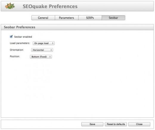 SEO Quake Preferences - Seobar