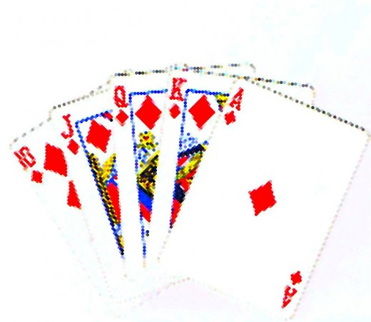 Royal flush clip art with dot effect