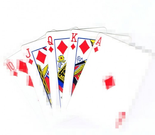 Royal flush clip art with focal pixel effect