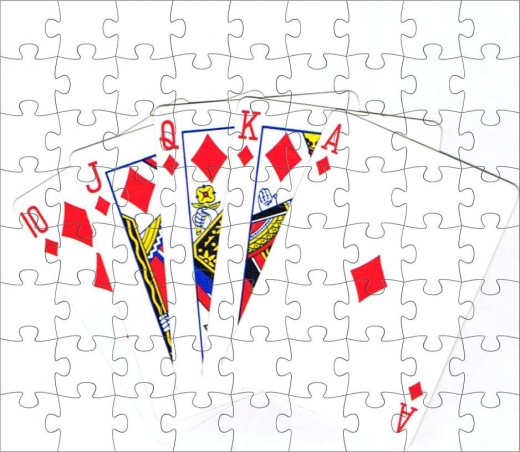 Royal flush clip art with complete puzzle effect