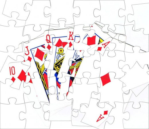 Royal flush clip art with puzzle effect