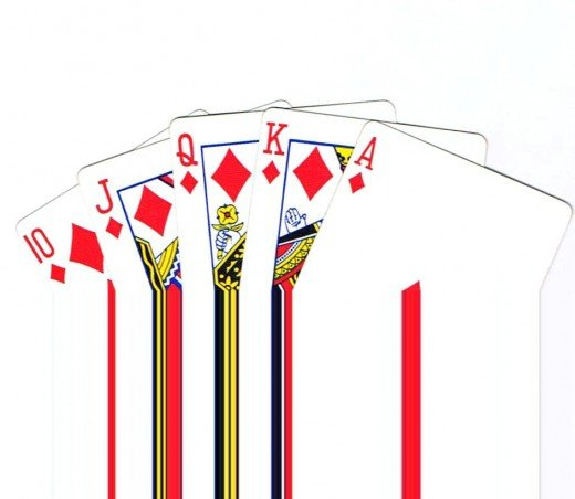 Royal flush clip art with waterfall effect