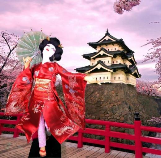 OOAK polymer clay doll,Geisha
