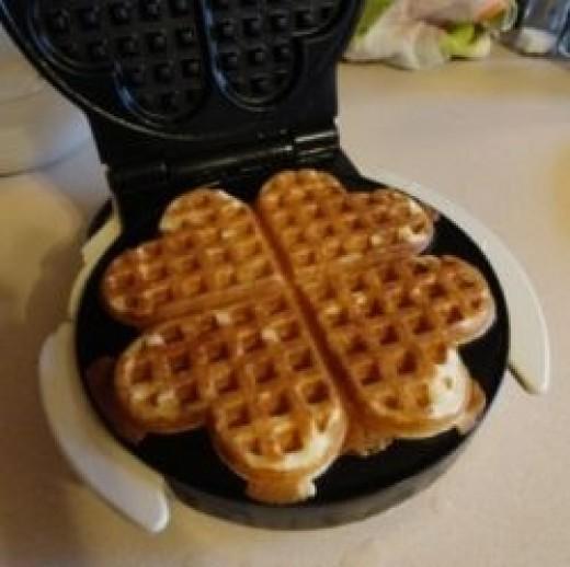 heart waffles berries