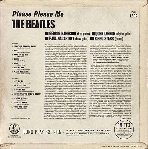 "The Beatles ""Please Please Me"" Wrap Around Cover Straight Cut Corner Catalog No. PMC 1202 Printed on Upper Right Corner Back Cover (1963) Album Cover Printed at Ernest J Day & Co Ltd"
