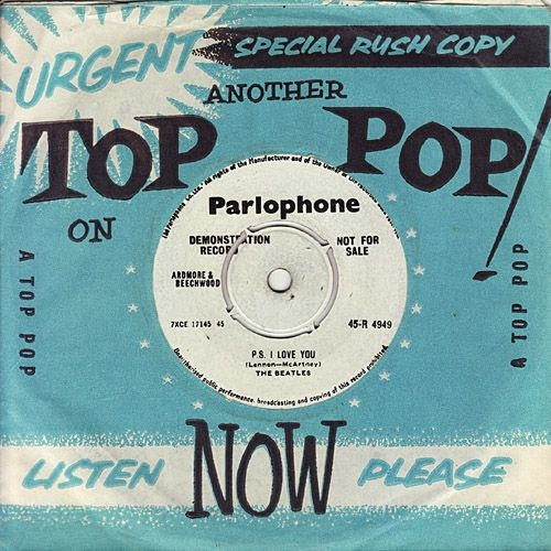 "Demo Copies of EMI Records Were Issued in ""Top Pop"" Sleeves. The Beatles ""Love Me Do"" b/w ""P.S. I Love You"" Parlophone 45-R 4949"