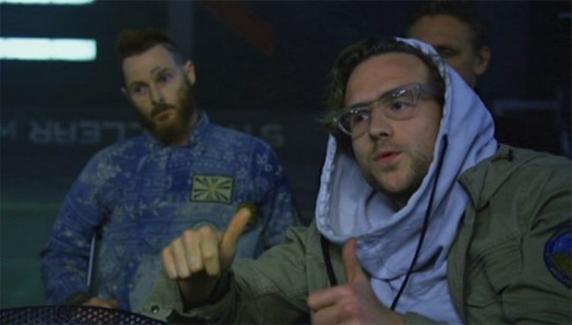 Here the Biologist Milburn in Ridley Scott's Prometheus is wearing a fashion hoodie.
