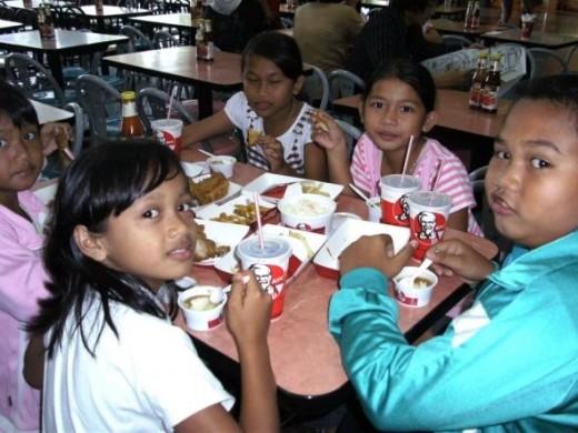 eating at KFC