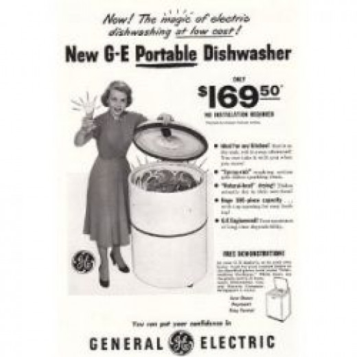 Old print ad for 1950 portable dishwasher on wheels