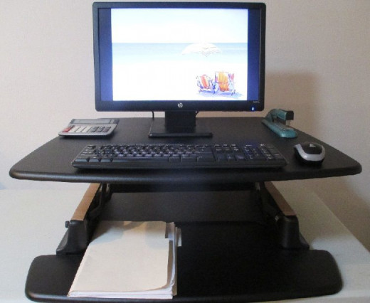 "Here is my ""standing"" set up. I'm perfectly comfortable working with this setup. Love it!"