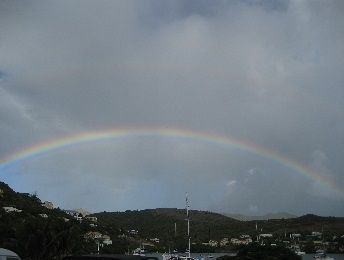 Lovely Rainbow over the Marina from our room at Oyster Bay