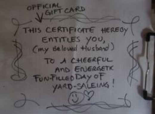 Official Gift Card for Yard Saleing