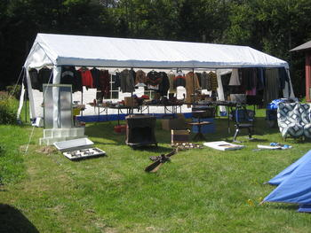 This is our party tent, where we host our own yard sales.