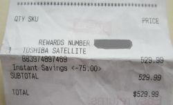 The receipt for my newest laptop.