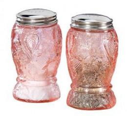 Pink Glass Strawberry Salt & Pepper Shakers