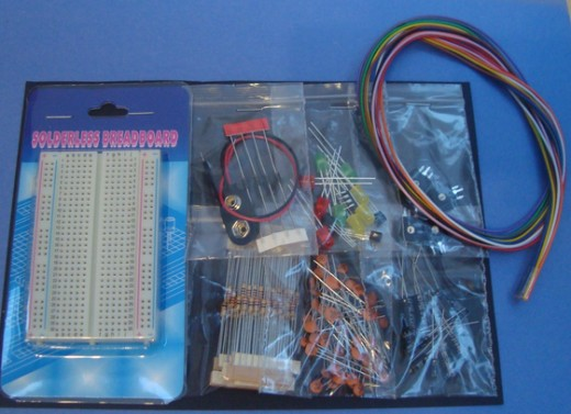 You get lots of basic components in the kit and plenty of wire. Photo credit: DinosaurEgg