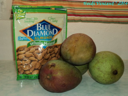 Raw Almonds - Fresh Mangoes - Blue Diamond Almonds - Julie Mangoes