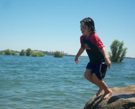 Willow jumping in off of the rock.