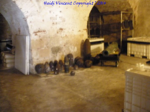 An inside view of a room where artillery was stored.