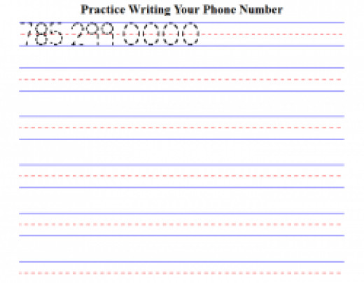 Worksheet Generator for Kids to Practice Writing Their Phone Number