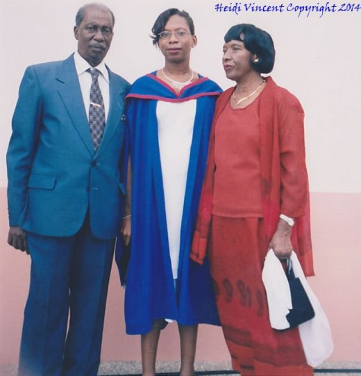 Dad & Mom at my graduation ceremony at the University of the West Indies in Trinidad in 1995.