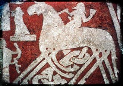 The Norse god Odin on his horse Sleipnir, featured on the Tjngvide image stone in Vallhalla.