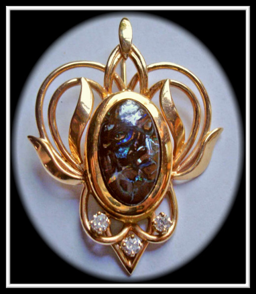 Boulder Opal Diamond pendant one-of-a-kind made by me