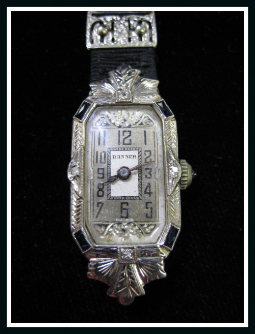 18K White gold sapphire antique watch from our store