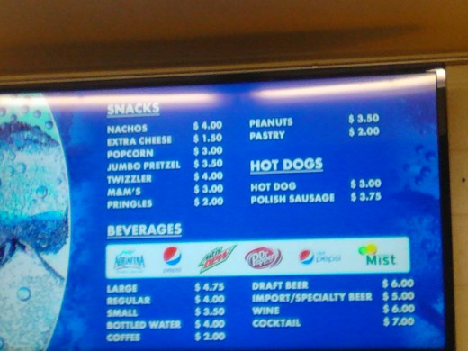 2014 food prices at the Lexington Convention Center concession stand