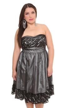 Plus Size Grey Sequin Party Dress