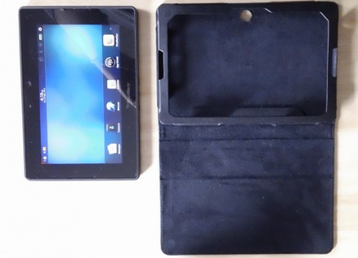 Inside of our leather case with tablet outside.