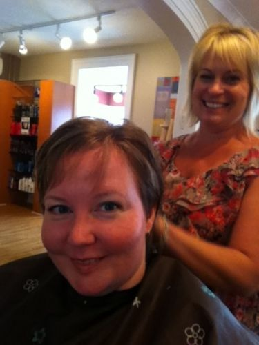 Final shaping. That is Kelly. She was the stand in for the hairdresser that called in sick.