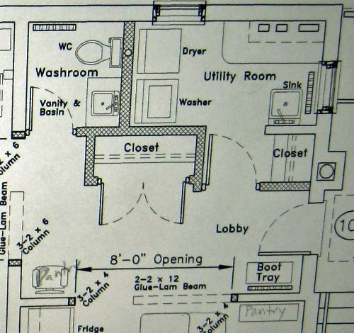 Here is the floor plan of the former kitchen which will now be a front entrance, laundry room, and powder room.