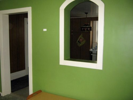 Cut out in dining room to kitchen.