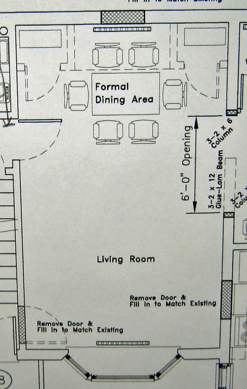 Here are the floor plans for the living room / family room or dining room.