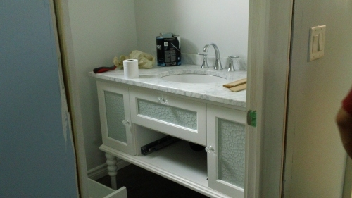 Vanity in master bathroom.