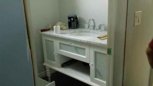 Vanity in master bathroom.