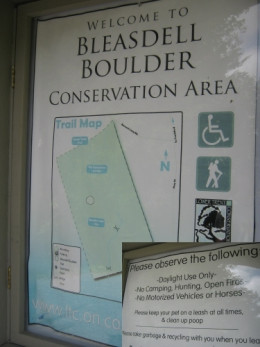 Trail map and do's and don'ts while visiting.