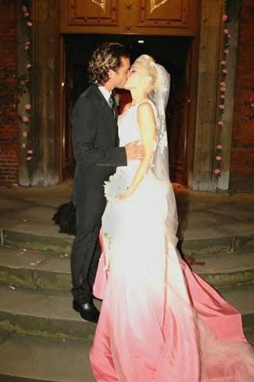 Gwen Stefani married Gavin Rossdale in 2002 while wearing a silk ombre gown by John Galliano for Christian Dior. She was well before her time with this ombre styling which has become an incredibly hot trend from hair to clothing.