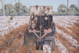 Roadside muriel painting of cotton harvest