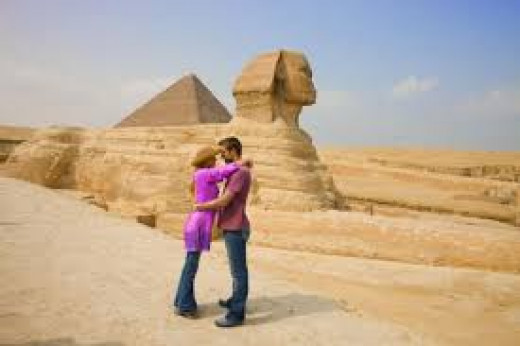 Lovers at  Sphinx of Egyptian Pyramid