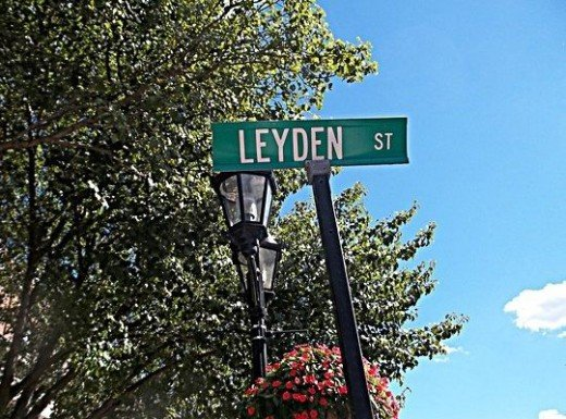 The first street in USA. Yes, there were others but Leyden Street is the first street made and used continuously since the original settlers built houses along each side. It began near Plymouth harbor and went all the way to what became known as Buri