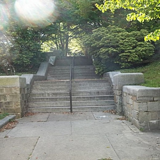 Stairs leading up to Burial Hill